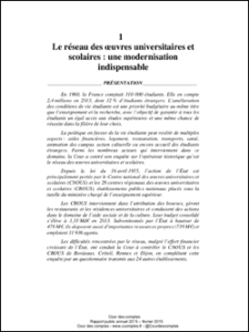 Le réseau des œuvres universitaires et scolaires : une modernisation indispensable