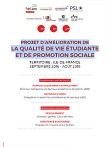 Projet Amelioration De La Qualite De Vie Etudiante 2016-2019